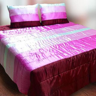 Покрывало атласное с подушками Палитра 10 розовое