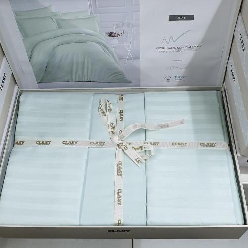 Постельное белье ТМ Aran Clasy сатин страйп Mint