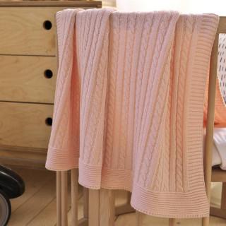 Плед вязаный детский хлопковый ТМ Betires Sofi Pink 90х90