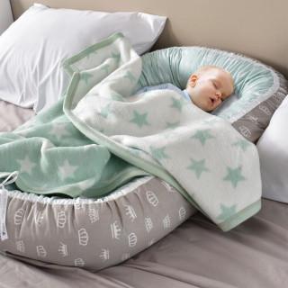 Кокон для новорожденного Корона серый-мятный ТМ Идея