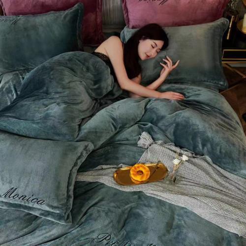 Постельное белье ТМ Koloco велюр Monica изумрудный