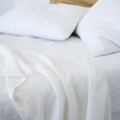 Льняное постельное белье Линтекс белое