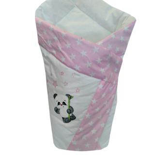 Конверт для пеленания летний Панда розовый 80*80