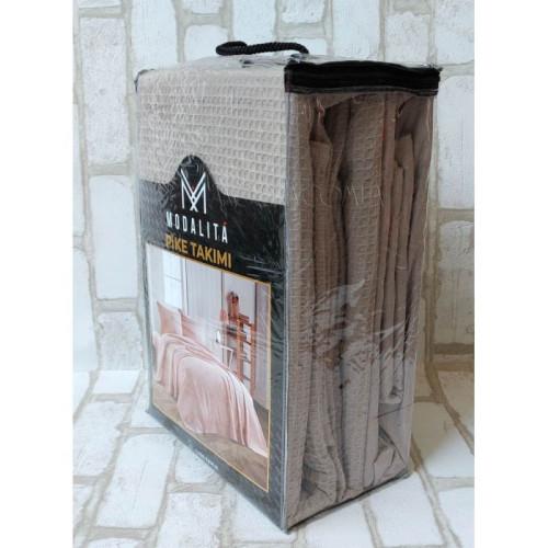 Постельное белье с вафельным покрывалом Modalita Pike Takimi беж
