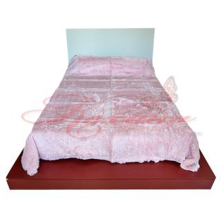 Плед акриловый травка Koloco длинный ворс нежно-розовый