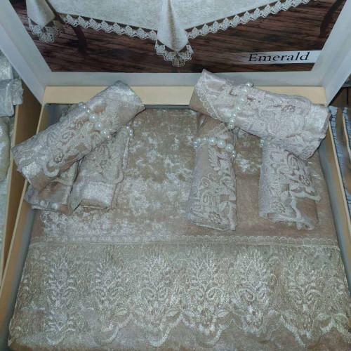 Скатерть прямоугольная MR с салфетками Emerald Cappicino 160х220