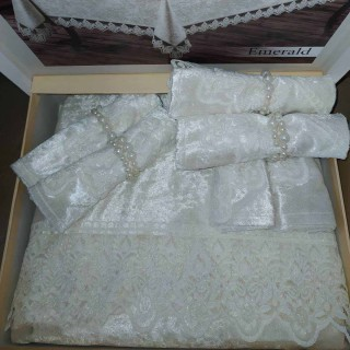 Скатерть прямоугольная MR с салфетками Emerald Crem 160х220