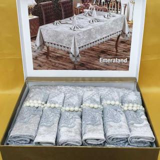 Скатерть прямоугольная MR с салфетками Emerald Grey 160х220