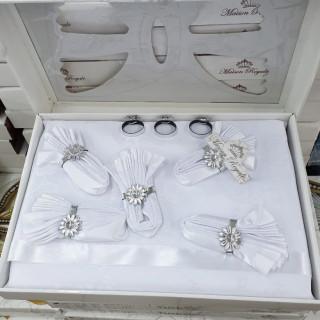Скатерть прямоугольная Maison Royale с салфетками белая 160х220