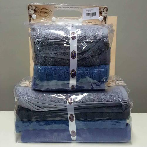 Набор полотенец микрокотон Zeron Dalga Desen синий 4 шт.