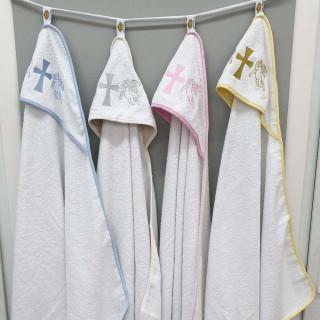 Пеленка с капюшоном крыжма для крещения Zeron махра 92х92