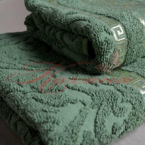 Полотенце махровое жаккардовое Греция зеленое