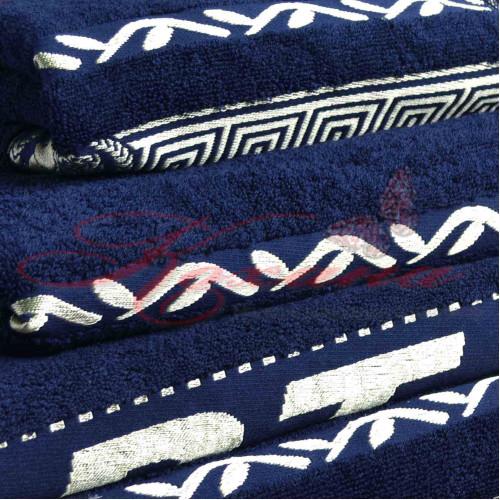 Полотенце махровое жаккардовое Цезарь темно-синее