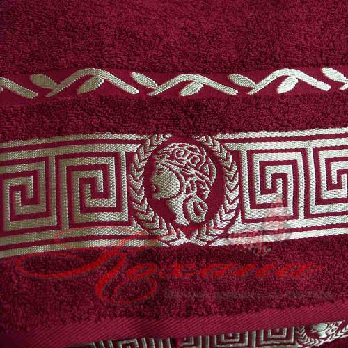 Полотенце махровое жаккардовое Цезарь бордовое