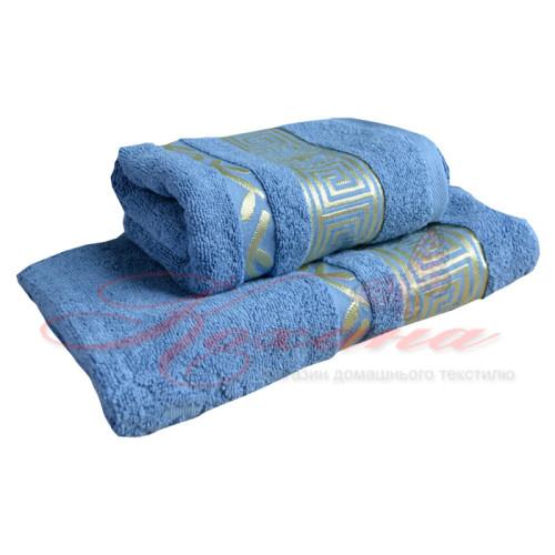 Полотенце махровое жаккардовое Цезарь голубое