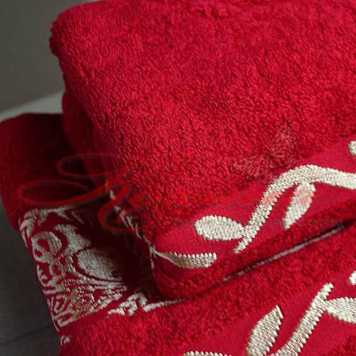 Полотенце махровое жаккардовое Цезарь красное