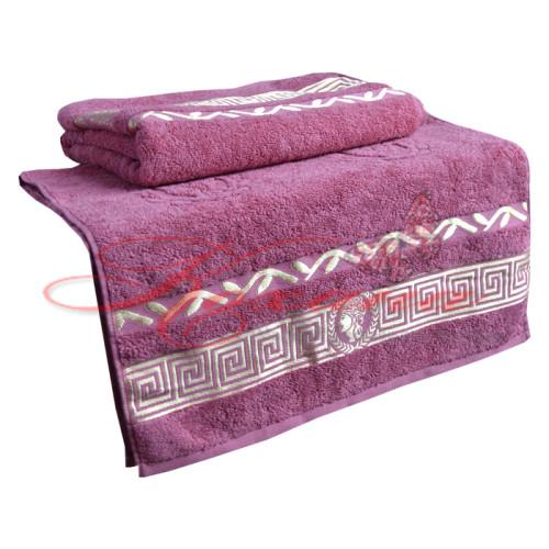 Полотенце махровое жаккардовое Цезарь розовое