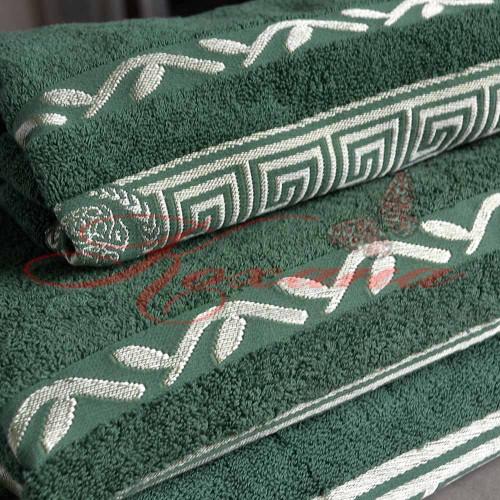 Полотенце махровое жаккардовое Цезарь зеленое