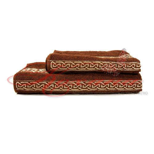 Полотенце махровое жаккардовое Орнамент коричневое