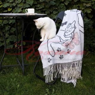Плед ТМ Vladi Валенсия Cats бел-сер