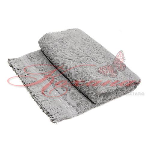 Полотенце махровое жаккардовое ТМ Zeron VIP 100х150 серое