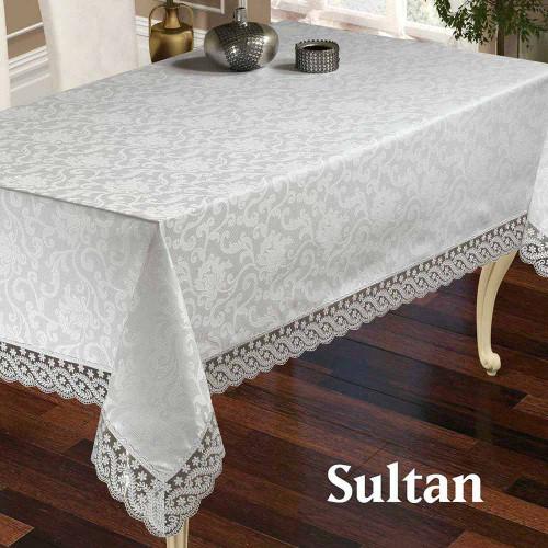 Скатерть прямоугольная жаккардовая Zeron Sultan white 160х220