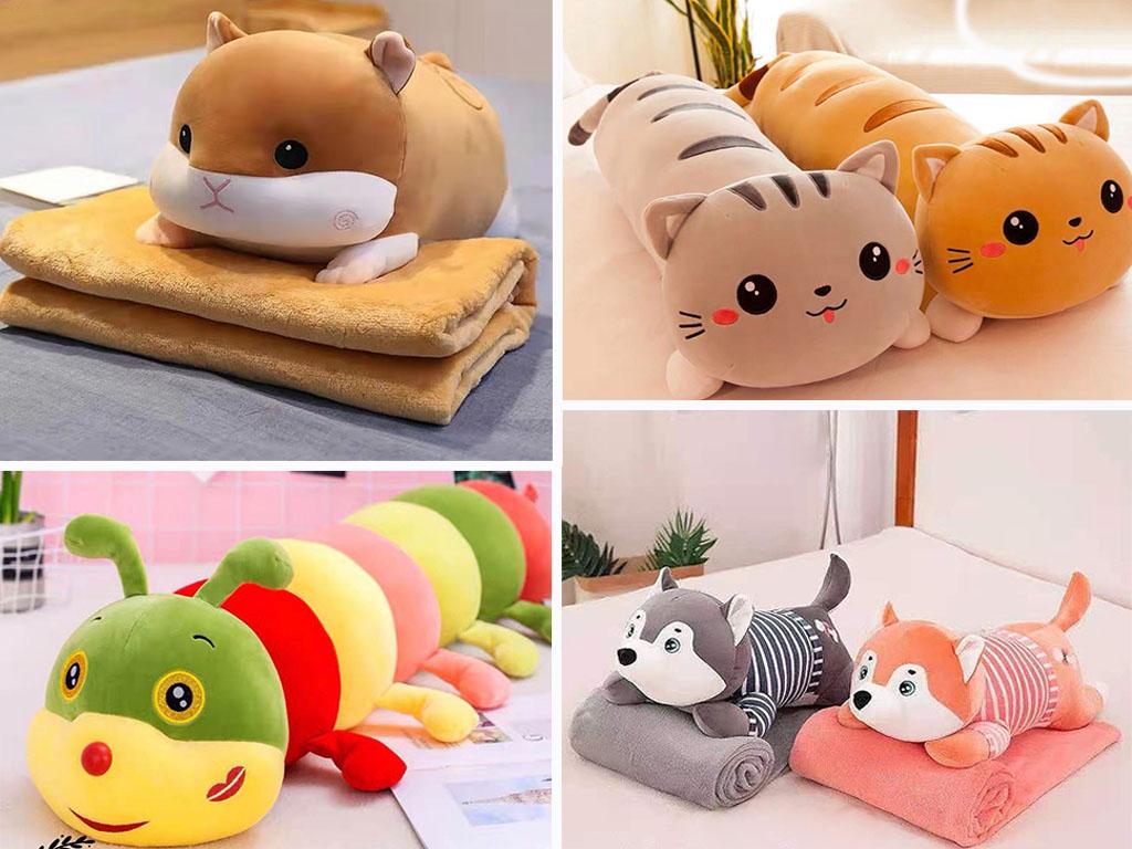 Мягкая игрушка с пледом внутри представлена в виде разных животных: хомячок, гусеница, котик